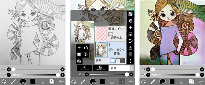 AI(人工知能)が線画に自動着色する【アイビスペイントX】の使用イメージ