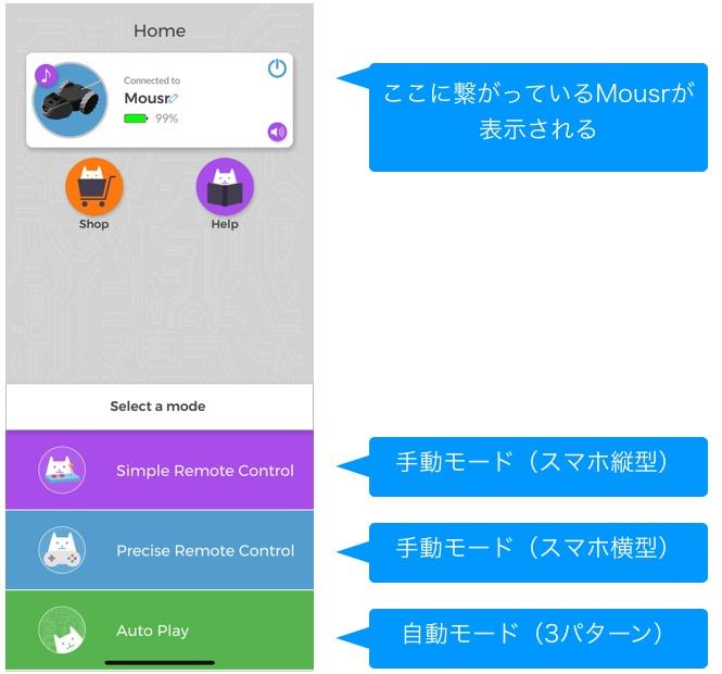 Mousrアプリの基本画面