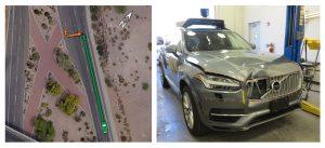 事故現場と事故を起こした車のイメージ