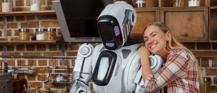 ロボットと人が仲良くするイメージ