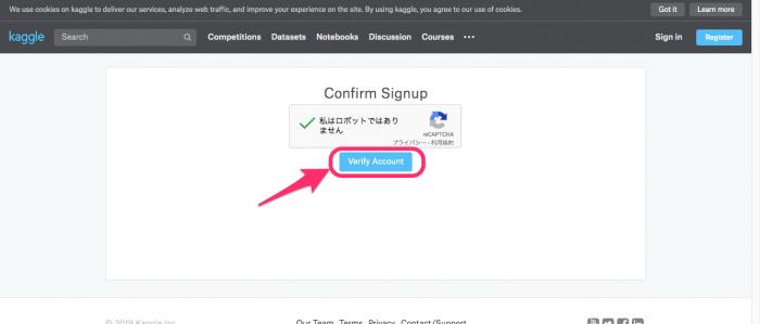 Verify Account(アカウントを確認する)のイメージ