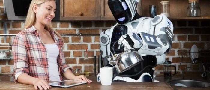 ロボットが人をサポートするイメージ