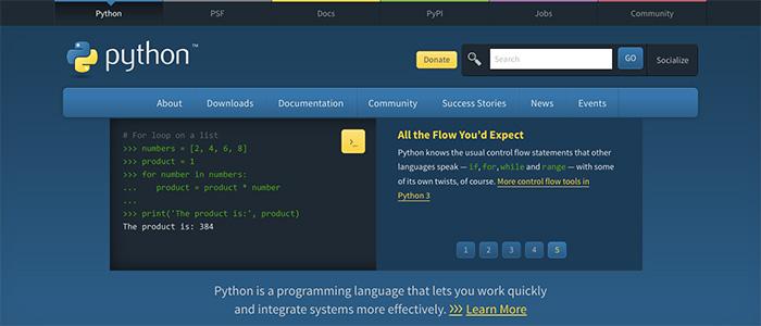 Pythonのサイトのイメージ