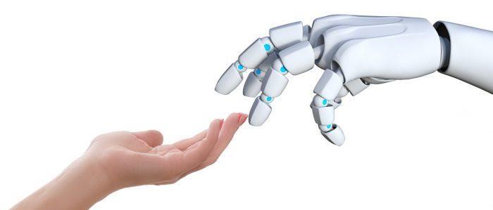 ロボットと手を組むイメージ
